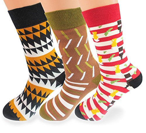 V28 Men's Cool with Various Crazy Pattern Mixed Colors Crew Socks