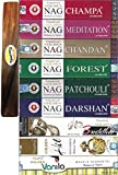 Set of 9 Golden Nag Champa, Nag Meditation, Nag Forest, Nag Chandan, Nag Patchouli, Nag Darshan, Buddha, Hit, and Vanilla with ( Govinda Incense Holder )