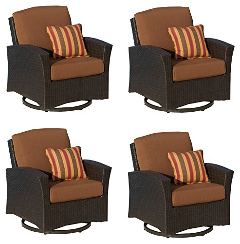 Mission Hills Furniture Sunbrella Outdoor Swivel Rocking Chairs Seating Wicker Patio Furniture, 4 Piece