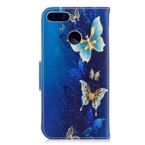 EUWLY Huawei Y9 2018 Leather Wallet Case,Huawei Y9 2018 Protective Case [Cash and Card Slots],Beautiful 3D Colorful Pattern Elegant Retro Pattern Pu Leather Case Book Wallet Flip Cover [Kickstand] [Ma Gold Butterfly