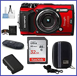 Olympus Stylus TOUGH TG-5 Digital Camera (Red) Bundle includes; 32GB SDHC Class 10 Memory Card, SD Card Reader, Spare Battery, Case and more...