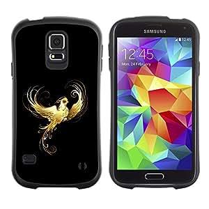 Suave TPU Caso Carcasa de Caucho Funda para Samsung Galaxy S5 SM-G900 / Golden Phoenix Flaming / STRONG