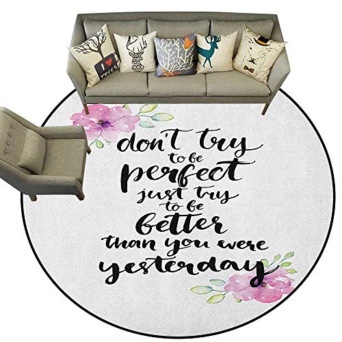 Motivational,Bedroom Rugs Motivation Boosting Inspiration Enchanting Quote Be Better Than Yesterday D72 Nursery Circle Rug for Infant and ()