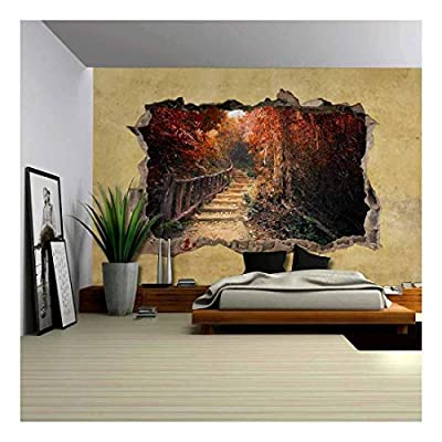 Crafted to Perfection, Wonderful Artisanship, Beautiful Autumn View Viewed Through a Broken Wall Large Wall Mural Removable Peel and Stick Wallpaper