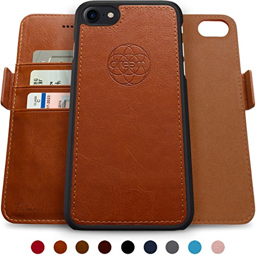 -1 Wallet-Case for iPhone 7 & 8, Magnetic Detachable Unbreakable TPU Slim-Case, Wireless Charge, RFID Protection, 2-Way Stand, Luxury Vegan Leather, Gift-Box - Caramel ()