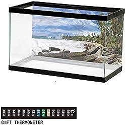 "bybyhome Fish Tank Backdrop Beach,Mighty Shores of Sri Lanka,Aquarium Background,24"" L X 24"" H(61x61cm) Thermometer Sticker"