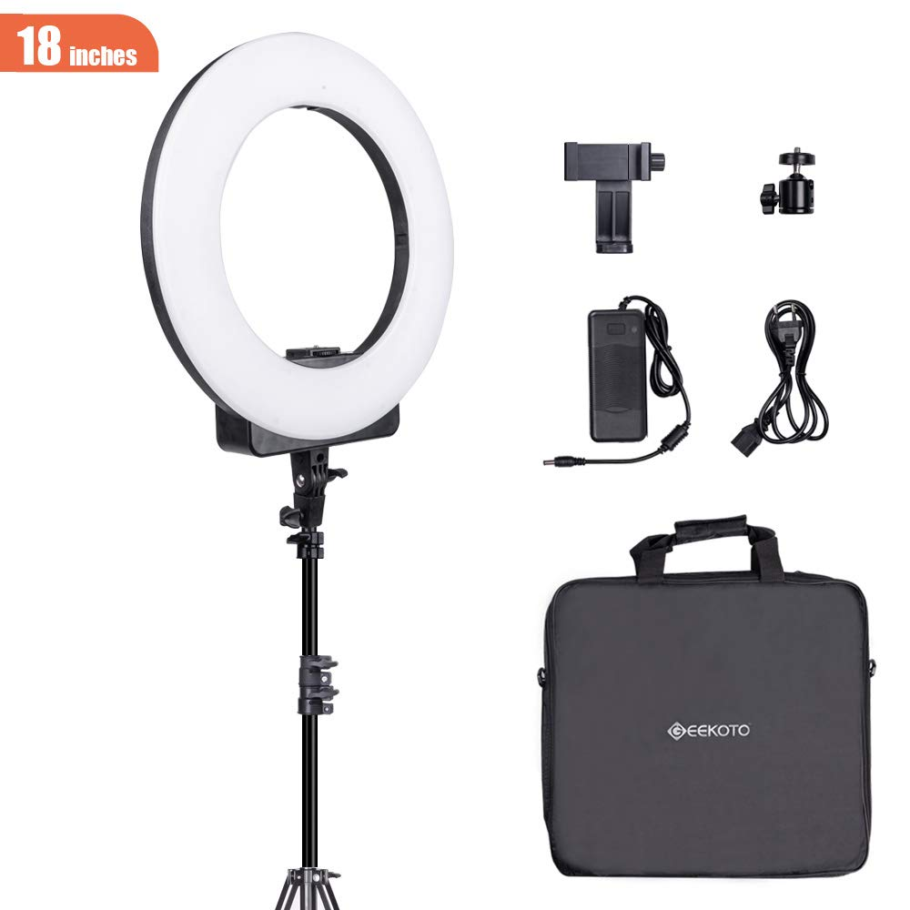 GEEKOTO 18-inch Ring Light for Phone and Camera LED Ring Light with Stand and Phone Holder 48W, 3200k-5600k for Photography, Makeup, Video Shooting