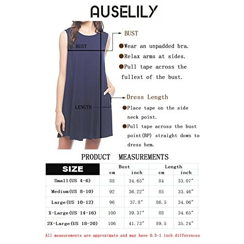 342e7d4c75ad AUSELILY Women's Sleeveless Pockets Casual Swing T-Shirt Dresses ...