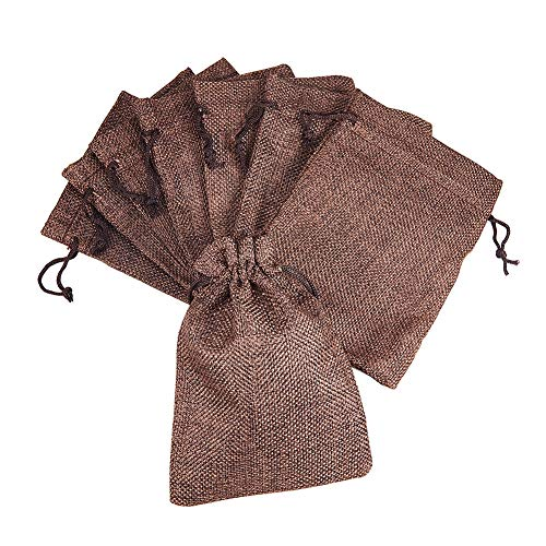 "50Pcs Jute Burlap Bags with Drawstring - 5.3"" x 3.7"" Gift Favor Bags Packing Pouches Linen Small Sacks for Wedding Party, Birthday, Christmas, Presents, Snacks, Jewelry, Arts & Crafts - Coffee Brown"