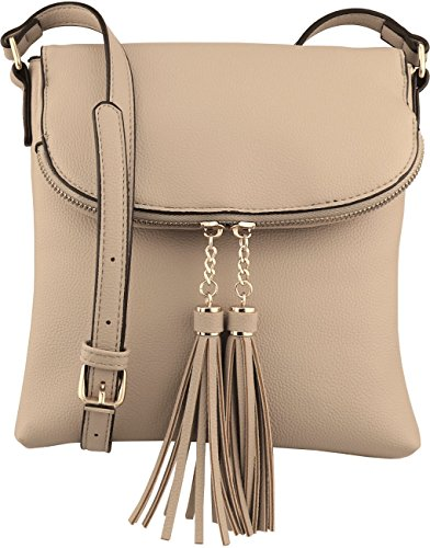 B BRENTANO Vegan Medium Flap-Over Crossbody Handbag with Tassel Accents (Taupe)