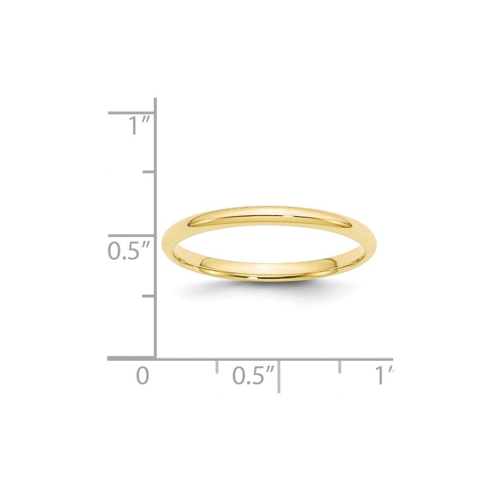 Bonyak Jewelry 10KY 2mm LTW Comfort Fit Band Size 5 in 10k Yellow Gold