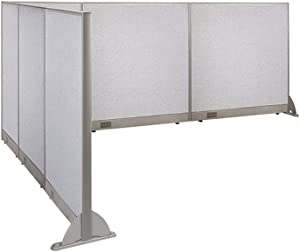 """GOF Freestanding L Shaped Office Partition, Large Fabric Room Divider Panel, 114""""D x 126""""W x 48""""H"""