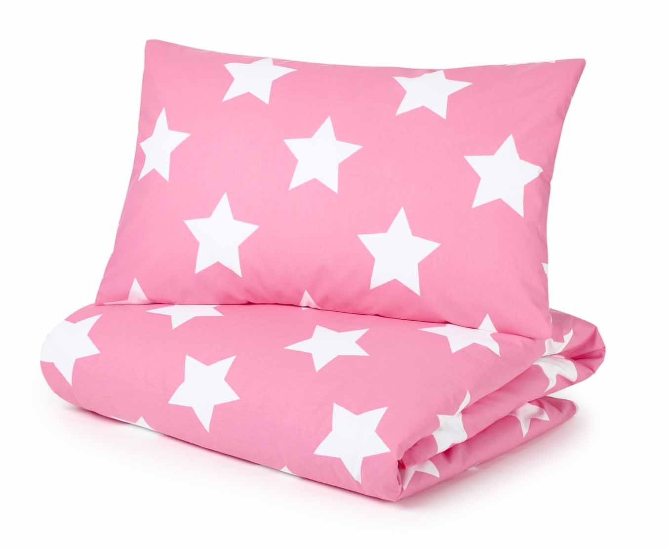 Cot Bed Duvet Cover and Pillowcase Set, Pink with White Stars Pixie and Jack