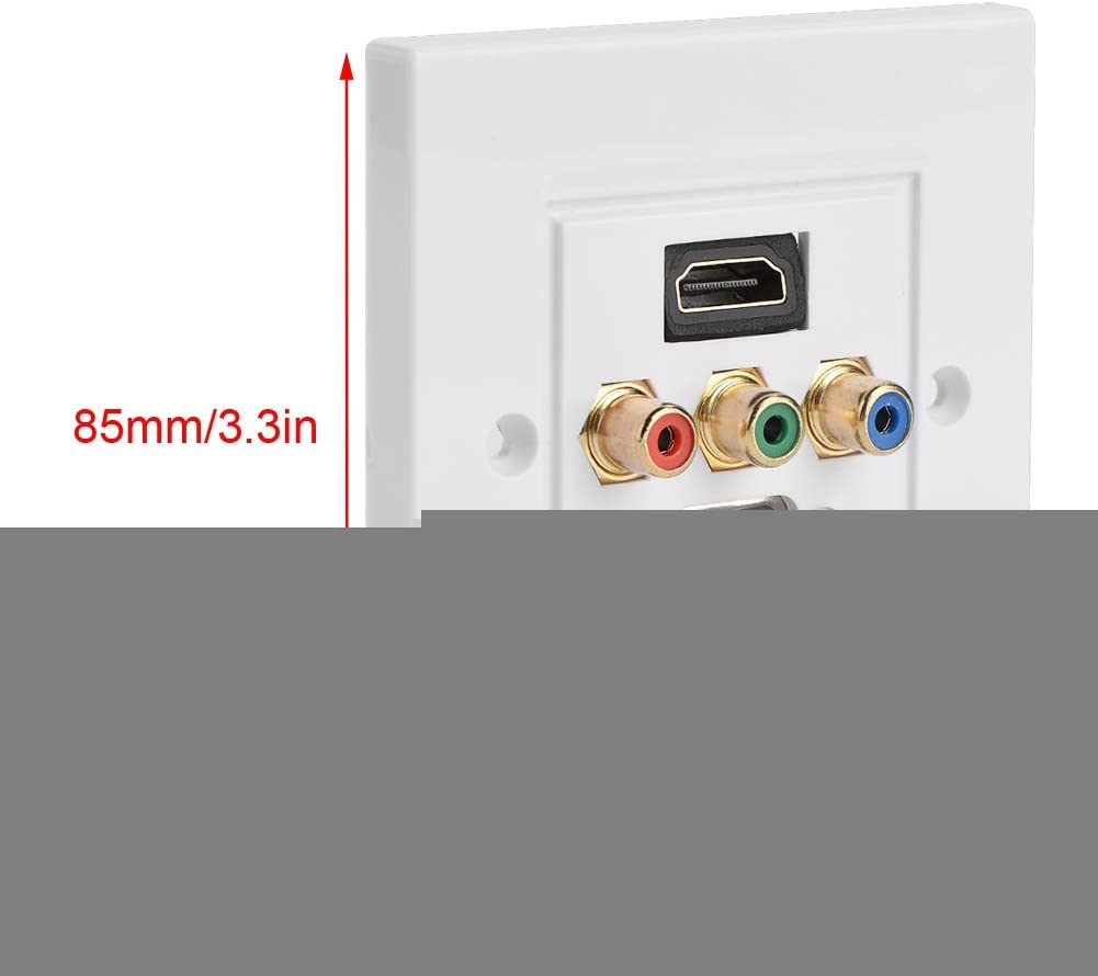 Panel de Enchufe de Pared Puertos HDMI VGA RCA 3 en 1 Panel Multimedia Protecci/ón multinivel Toma de Corriente de Salida de Pared