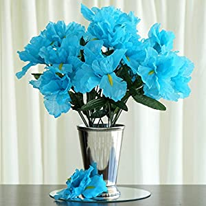 Tableclothsfactory 60 pcs Artificial IRIS Flowers - 12 Bushes - Turquoise 74
