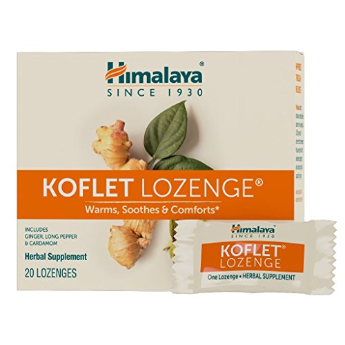 Himalaya Koflet Lozenges, Herbal Cough Drop with Ginger, Long Pepper and Cardamom for Bronchial Soothing Comfort, 130 mg, 20 Lozenges (Best Non Menthol Cough Drops)