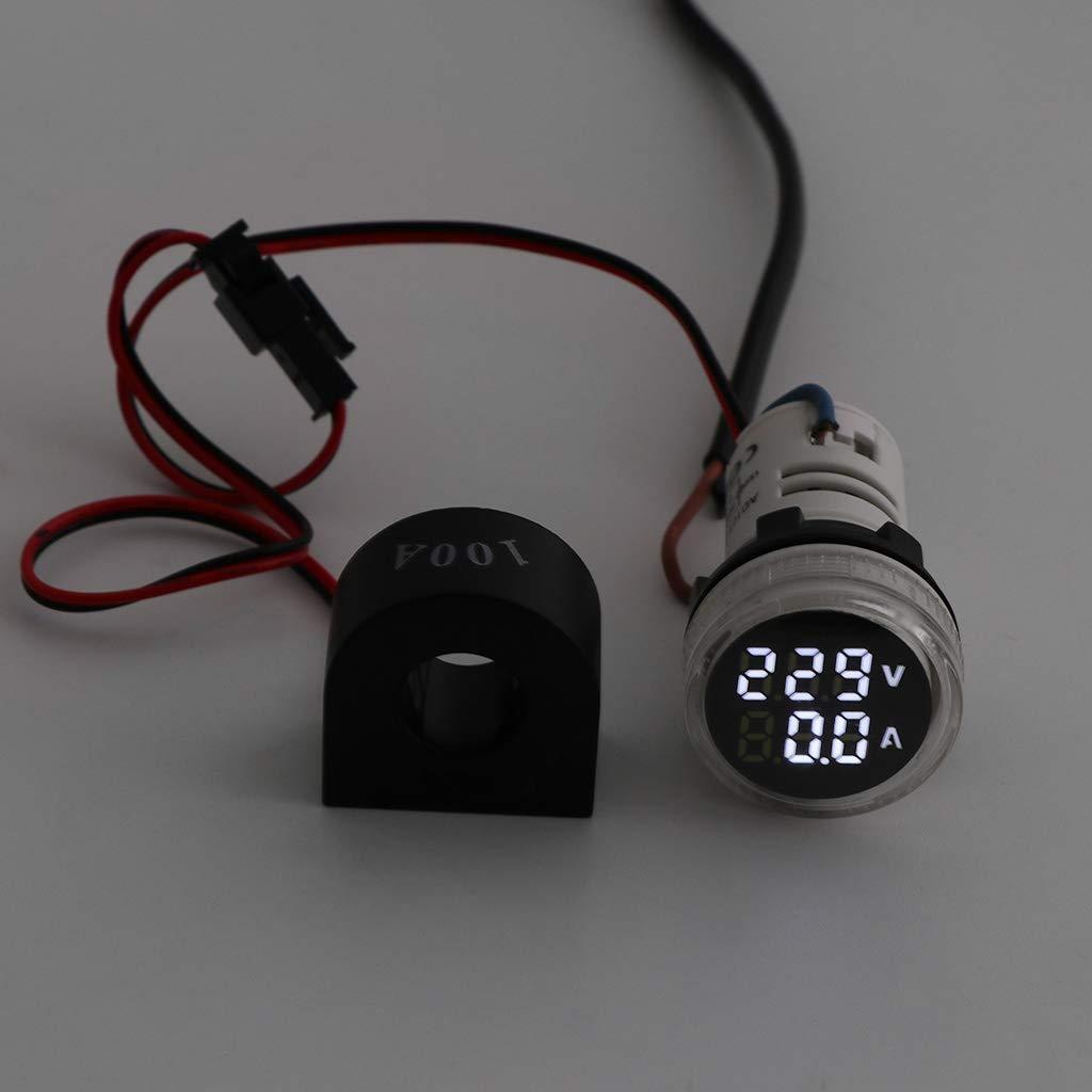 Blue Digital Voltmeter Ammeter 22mm Round AC 50-500V 0-100A Voltage Volt Amp Monitor