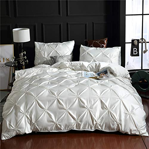 Pinch Pleated Bedding White Silk Like Satin Duvet Cover Set Pintuck Ruffle Design White Silky Microfiber Bedding Sets Queen (90