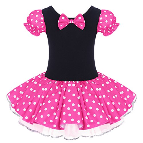 Kids Minnie Costume Flower Girl Tutu Dress Mouse Ear Headband Polka Dot First Birthday Halloween Fancy Dress Up Princess Outfits Rose Without 3D Ears 3-4 Years