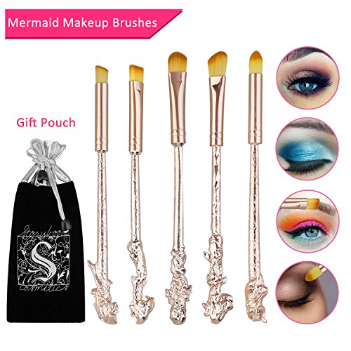 Mermaid Eyeshadow Makeup Brushes - XREXS 5 Pack Metal Magic Mermaid Eye Shadow Blending Brushes Sets, Cosmetic Makeup Tool Kit Beauty Tools with Gift Package (Rose Gold)