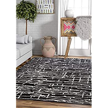"Ecstatic Tribal Vintage Black White Modern Geometric Microfiber 5x7 (53"" x 73"") Area Rug Abstract Lines Stripes Carpet"