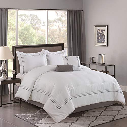 Bellagio Home Comforter Set, King, White, Gray (Renewed)