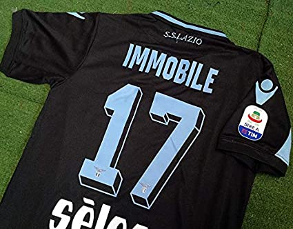327aa9ff033 Retro IMMOBILE#17 Lazio Away Soccer Jersey 2018-2019 Calcio Patch (Black,
