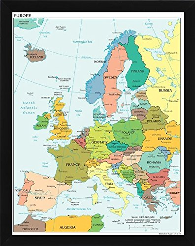 Amazon Com Europe Push Pin Travel Map 24 X 36 With Flat Black