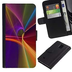 KingStore / Leather Etui en cuir / Samsung Galaxy Note 4 IV / Púrpura Líneas Resumen Flujo Luz
