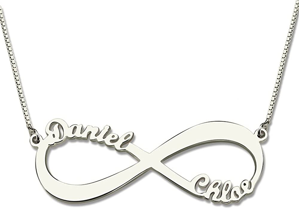 Custom Infinity Name Necklace Personalized Two Nameplate Necklaces Women Jewelry BFF