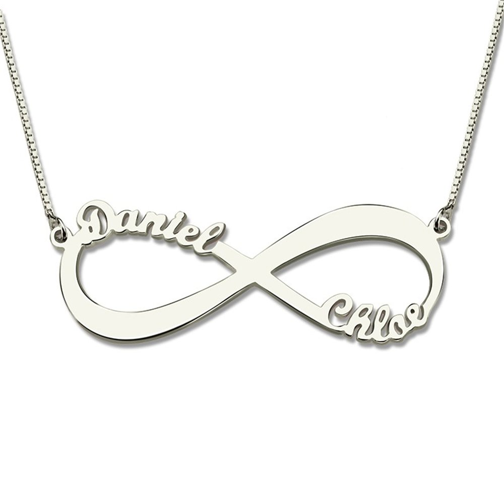 Custom Infinity Name Necklace Personalized Two Nameplate Necklaces Valentines Day Gift Women Jewelry BFF