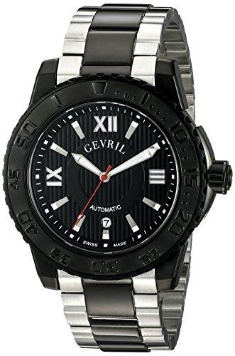Mens Elite Bracelet Watch - Gevril Seacloud Mens Swiss Automatic Two Tone Stainless Steel Bracelet Watch, (Model: 3110B)