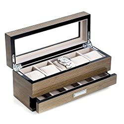 Bey Berk Lacquered  Gray Wood  5 Watch Box with Glass Top