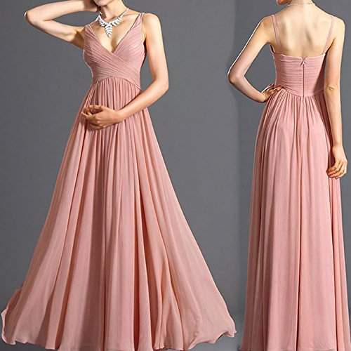 Grecian Style Evening Gowns (Women's V-Neck Ruched Waist Ladies Long Evening Dress Sleeveless Grecian Style Prom)