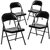 Black Metal Folding Chairs Flash Furniture 4 Pk. HERCULES Series Double Braced Black Metal Folding Chair