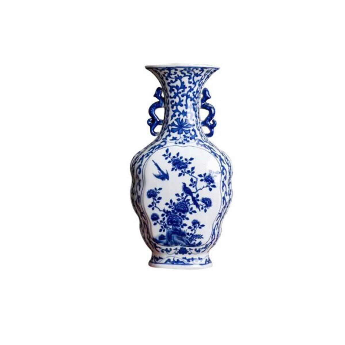 8HAOWENJU 花瓶の装飾、景徳鎮ネオクラシカルな中国の陶芸、青と白のアンティーク花瓶の装飾、リビングルームBoguワインキャビネットホームレトロな装飾、青と白の磁器の瓶 中華風 (Color : Ceramics) B07SSR32LZ Ceramics