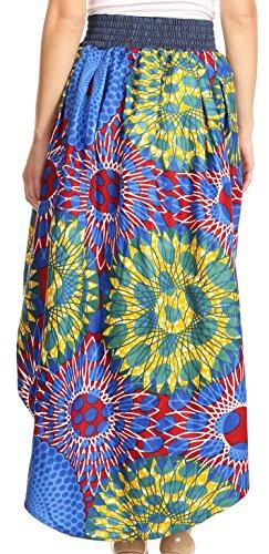 Sakkas Bahati Hi Low Mermaid African Ankara Dutch Wax Cotton Skirt Colorful Waxbluetribal2