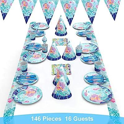 decalmile 146 Piezas Vajilla Diseño de Sirena para 16 Invitados Decoración de Fiesta de Cumpleaños para Niña(Platos, Tenedores Cucharas Cuchillos, ...