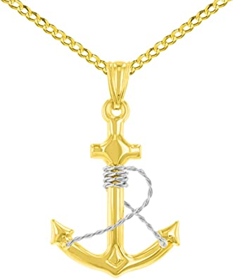 14k Two-Tone Anchor W//Rope Pendant