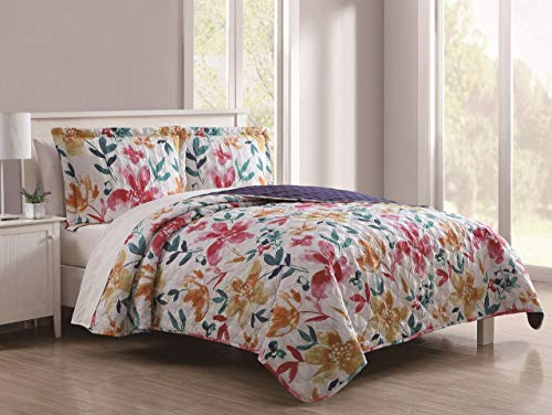 (S.L. Home Fashions 3 Piece Penelope Pink/Multi Quilt Set Queen)
