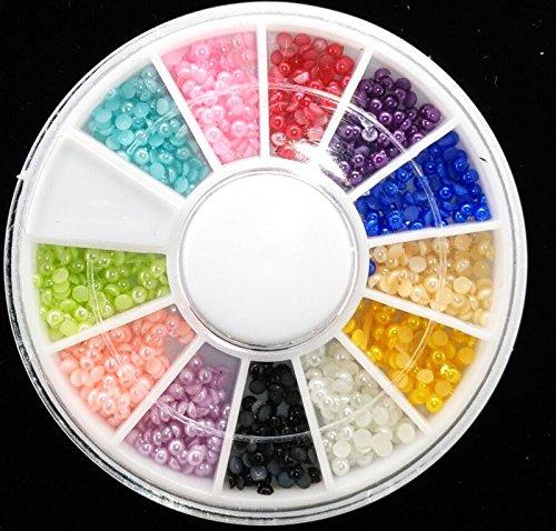 600 Pcs Wheel 3D Diamond Nail Art Half Pearls Nail Art 2.0Mm AB Half Colorful Pearl Beads Nail Decor Nail Charm by DKjiaoso