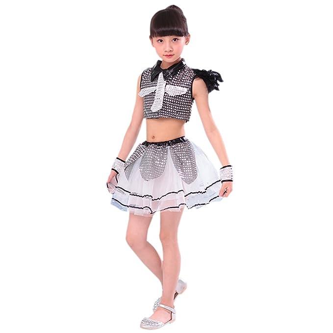 62a98e90c4c0b Amazon.com: BOZEVON Kids Sequins Jazz Dance Costumes Boys Girls Modern  Performances Clothes: Clothing