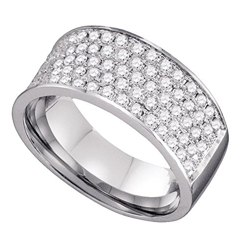 10k White Gold Five Row Diamond Wedding Band Bridal Ring Wide Round Cluster Style Polished Fancy 1.00 ctw Size 8.5