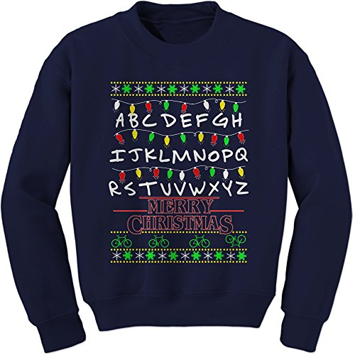 Crew Strange Merry Christmas Adult Medium Navy Blue