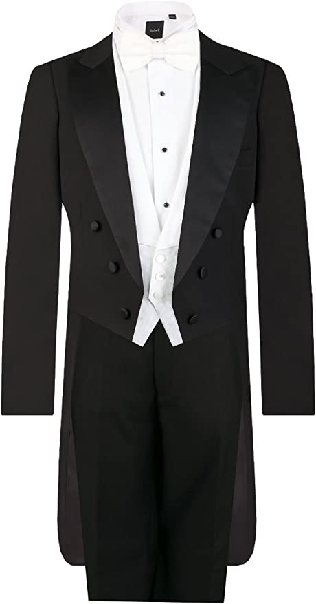 Edwardian Titanic Men's Formal Tuxedo Guide Dobell Mens Black Evening White Tie 2 Piece Suit Regular Fit £179.99 AT vintagedancer.com