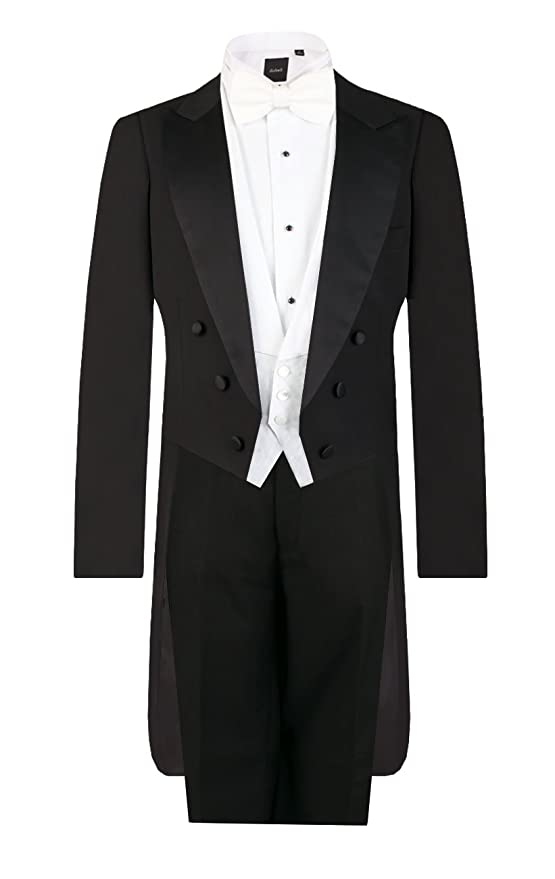 New Vintage Tuxedos, Tailcoats, Morning Suits, Dinner Jackets Dobell Mens Black Evening White Tie 2 Piece Suit Regular Fit $219.95 AT vintagedancer.com