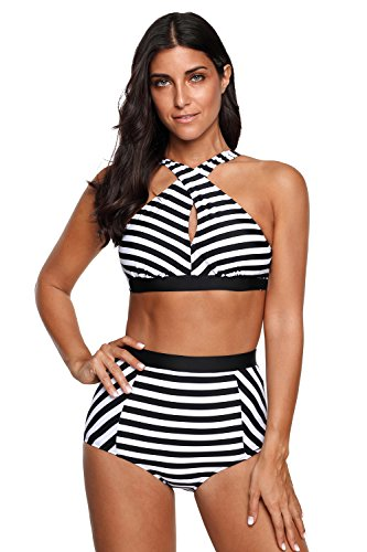 (High Waisted Floral Bikini Zebra Ladies Plus Size Swimwear-KJX005-ZB5)