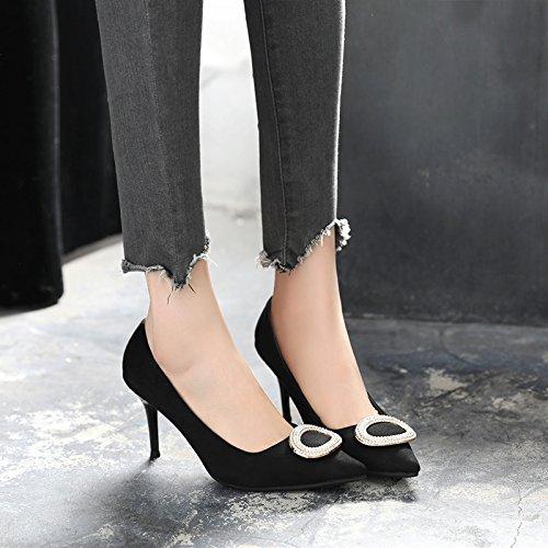 Otoño Fino Zapatos La Negros Tacón Primavera De Zapatos De El Negro Y Atar Solo GAOLIM Zapatos Señaló Con Femeninos Calzados Para Primavera Durante 5xqn0vAwXS