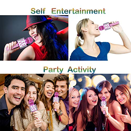 SUGOO Karaoke Microphone for Kids, Singing Machine Microphone Birthday Family Party Gift for Girls Boys Children Kids Age 6-15 Year Old Girl Gift Wireless Microphone Bluetooth Purple Mic by SUGOO (Image #5)