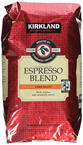 Kirkland Signature Starbucks Espresso Blend Overcast Roast Whole Bean Coffee, 32 Ounce